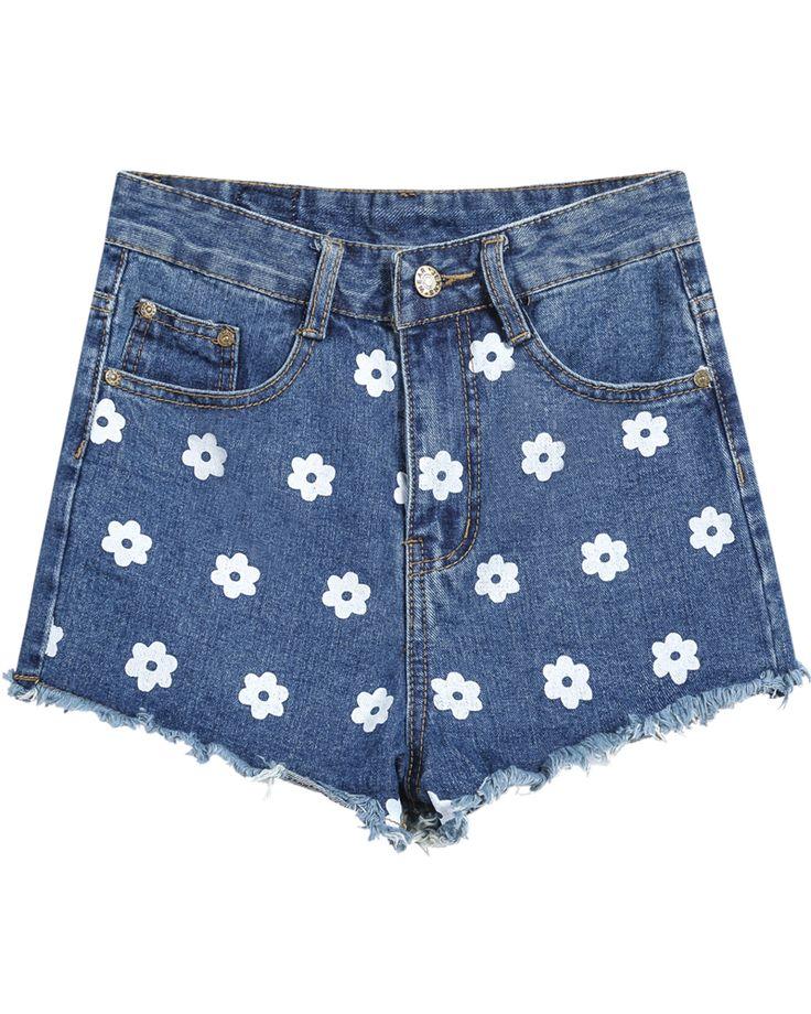 Floral Fringe Denim Shorts