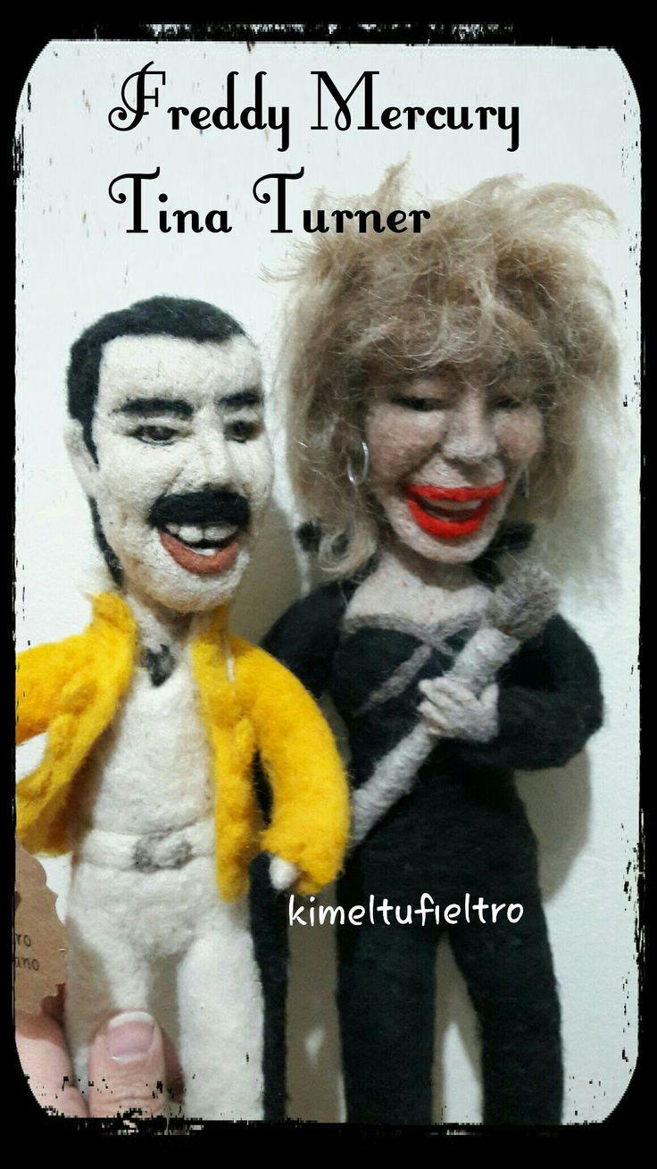 Figuras con agujas Felting  Freddy Mercury y Tina Turner