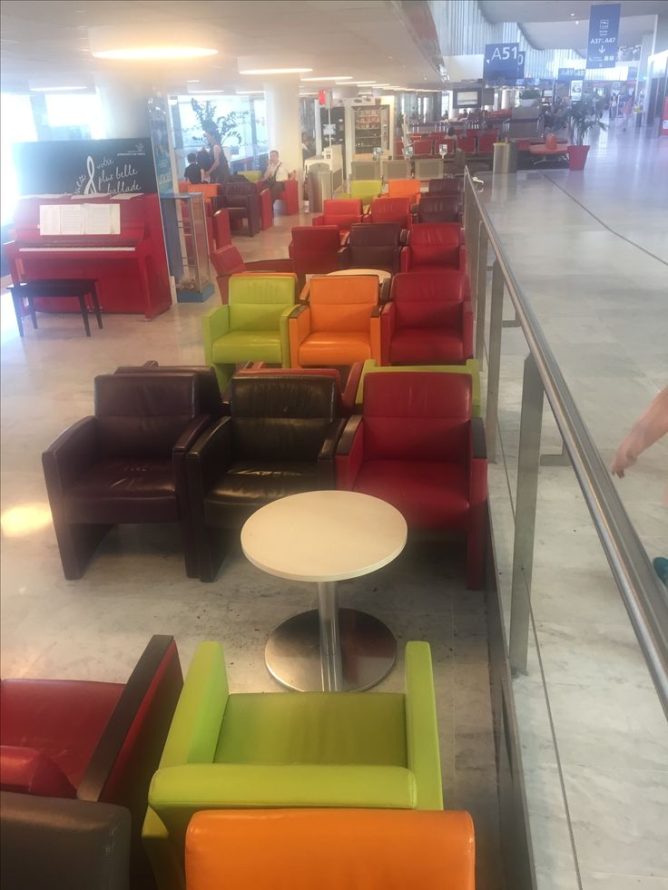 Multicoloured sofas @ Paris airport
