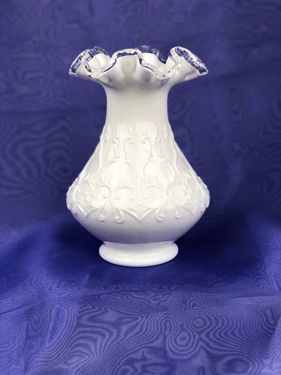 Fenton Silver Crest Spanish Lace Vase / Fenton Milk Glass / Fenton Vase / Milk Glass Vase / Vintage Vase / Collectible Milk Glass