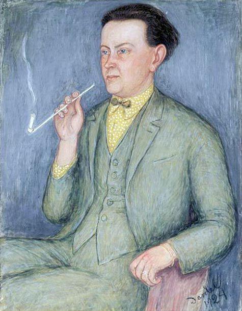 Nils von Dardel (1888-1943, Swedish), 1924, Hjalmar Bergman, Watercolor. Hjalmar Bergman (1883-1931, Swedish) was a writer and playwright.