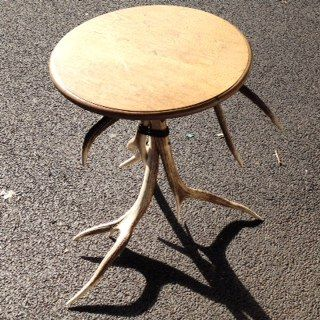 antler/oak top side table