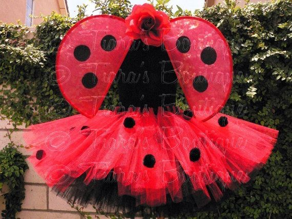 Ladybug Girl Costume Custom Sewn Tutu Wings and por TutuTiara