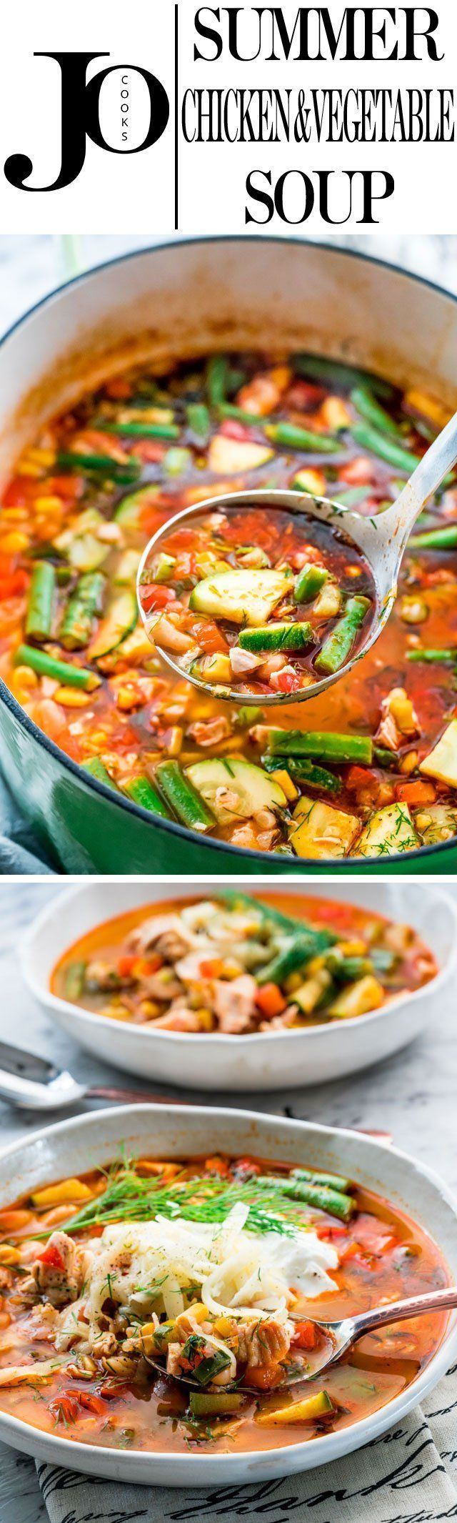 Here's my version of a delicious and comforting summer chicken and vegetable soup. Loaded with tons of veggies and chicken this soup is perfect for summer and a perfect use of all those summer vegetables.