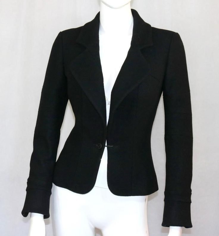 10A CHANEL Black Tuxedo Style Jacket Blazer Coat Evening CC Button's Fr36 US4 SM #CHANEL #BasicJacketBlazer #Formal