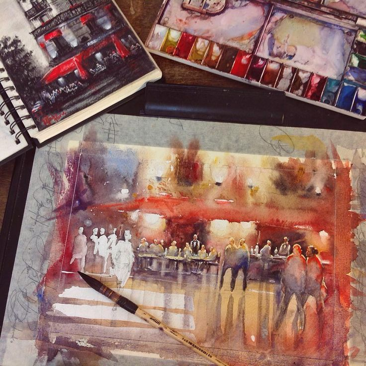 I love this moment when your painting looks almost like chaotic colourful blobs and only you find this mass logical and see a finished artwork  Just a couple of dozen strokes... and VOILÀ ✨!!! The painting is magically pulled together. Just a small piece of study (size a4) based on a plein air charcoal sketch which I made in Paris. ❤️ ~***~ Обожаю этот момент, когда твоя работа больше напоминает хаотичное нагромождение цветных клякс и только ты видишь во всём этом логику и завершённ...