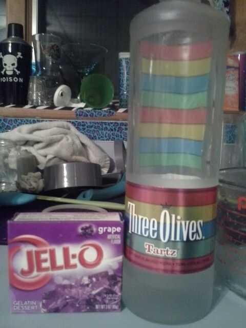 Purple sweet tart Three olives tartz w/ grape jello