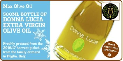 Win a 500ml Bottle of Donna Lucia Extra Virgin Olive Oil from Max Olive Oil in our '12 Days of Christmas' #Competition