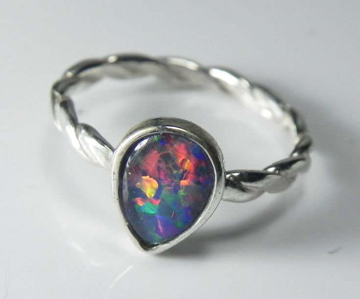 Opal Ring - Genuine Opal Stack Ring - Stacking Ring - Real Black Opal Triplet Jewelry - Sterling Silver AAA Opal Triplet- Fiery Rainbow. $69.00, via Etsy.