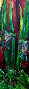 Green Frog Painting - Trinity Of Tree Frogs by Patti Schermerhorn