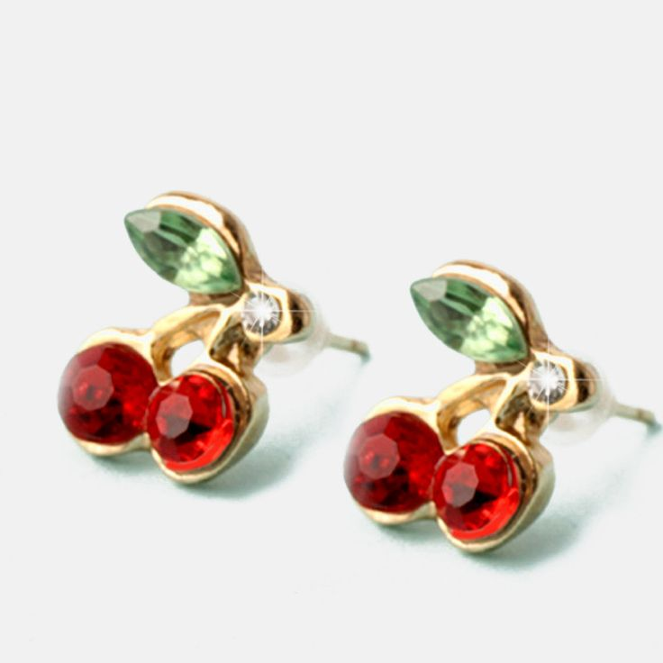 Korean Style 2016 aros earings fashion jewelry Lovely Red Crystal Metal Small Cherry leaf Stud Earrings for women E96