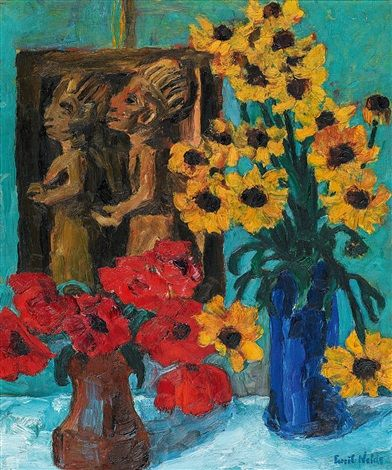 A Still Life of Flowers with a Wooden Sculpture von Emil Nolde Marie-Louise Jansson