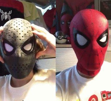 Spider-Man Mask with Sensor Controlled Mechanical Eye Lenses
