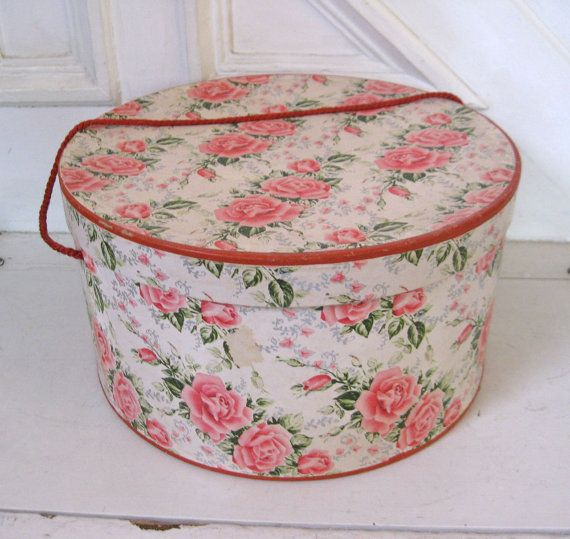 Vintage rose hat box, reminiscent of grandmothers and formal occasions of yore.