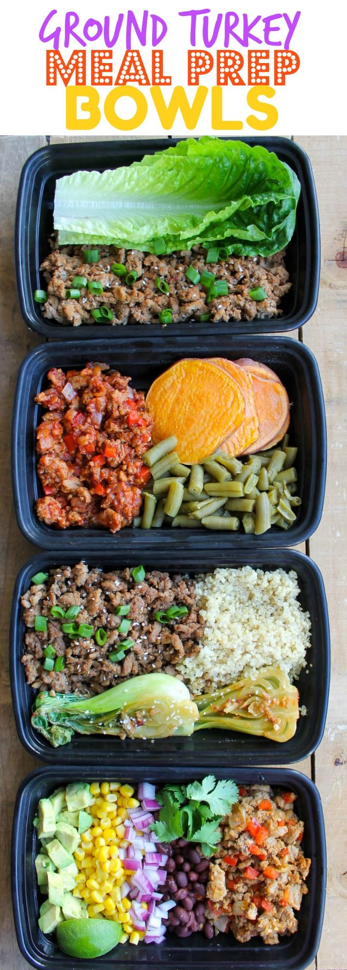 Easy Ground Turkey Meal Prep Bowls: 4 Ways - these healthy meal prep recipes come together so quickly and are budget-friendly too!