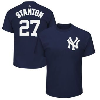 Men's New York Yankees Giancarlo Stanton Majestic Navy Name & Number T-Shirt