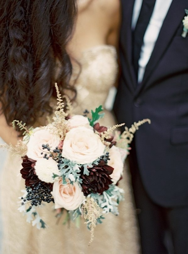 Gold burgundy sage pale pink flower bouquet  Those will be my wedding colors one day  Mostly gold