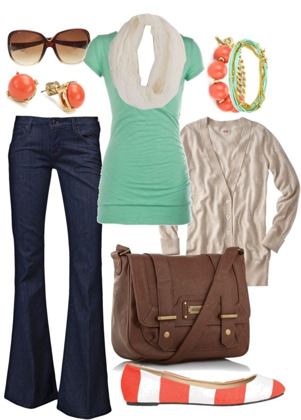 : Style, Color Combos, Dream Closet, Coral Shoes Outfit, Cardigan, Mint Coral, Untitled, Coral Aqua