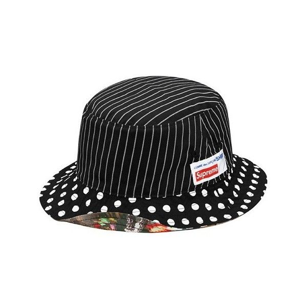 Supreme X Comme Des Garcons 2014 Crusher Bucket Hat Black Reversible... ❤ liked on Polyvore featuring home, home decor, black bucket, black home decor, comme des garçons and hat bucket