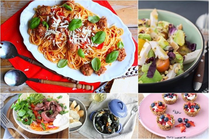 Francesca's Familie Weekmenu #134 met o.a.: spaghetti met balletjes, mosselen met prei, salade met avocado en gerookte kip, bavette wrap en granola cups.