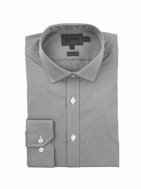 brooksfield luzon check shirt - bfc934 charcoal