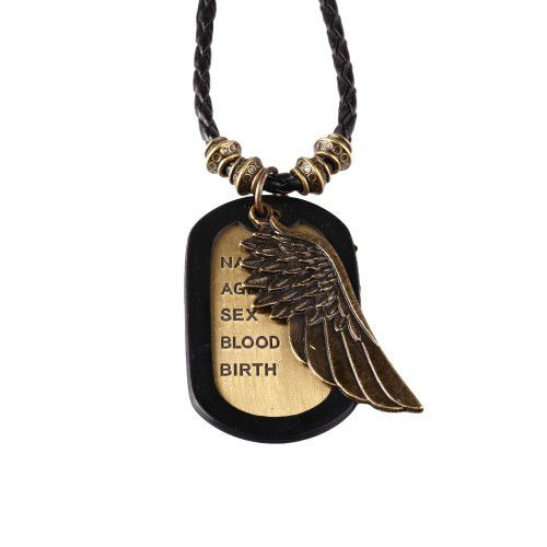 BodyJ4You® Dog Tag Necklace Mens Chain with Vintage Angel Wings Army Name Dog Tag Necklace