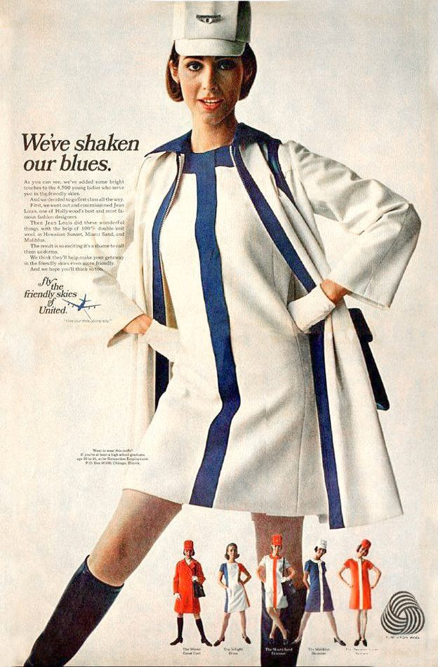 1968 advert touting United Airlines new Jean Louis-designed Flight Attendant Uniforms