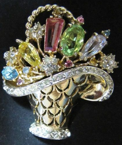 1950 Costume Jewelry Designers | CORO GOLDTONE & RHINESTONE BROOCH FROM 1950 DESIGN PAT # 159629 | eBay