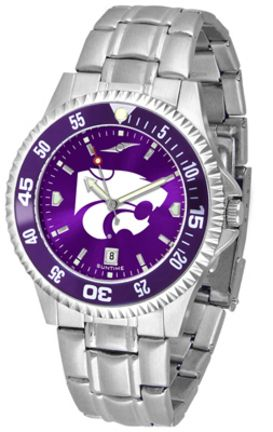 Kansas State Wildcats Competitor AnoChrome Men's Watch with Steel Band and Colored Bezel