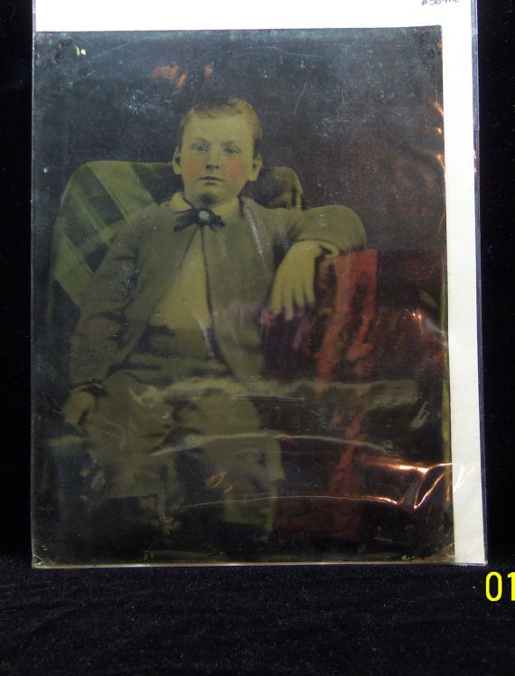 Victorian TinType LARGE Full Plate Era Painted Folk Art Tintype - Young Boy in chair Hand tinted Hand Pinted Victorian Tin photographs