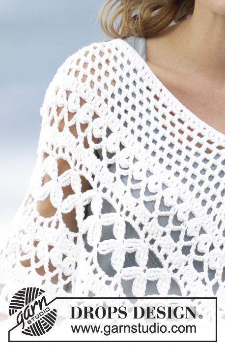 "Light's Embrace - Poncho a ganchillo DROPS con patrón de calados, tejido de arriba abajo en ""Paris"". Talla S-XXXL. - Free pattern by DROPS Design"