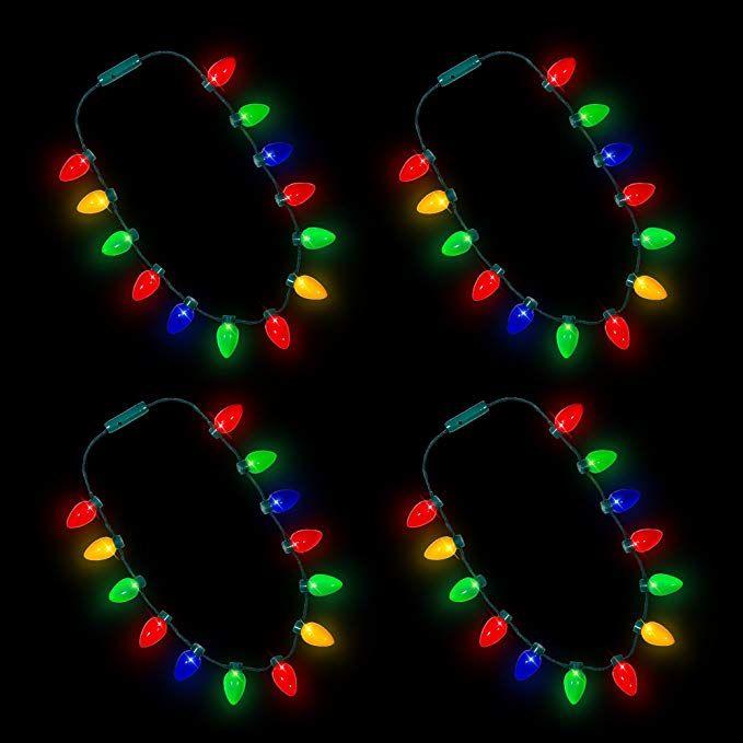 Amazon Com Windy City Novelties Led Light Up Christmas Bulb Necklace Party Favors 4 Pack 13 Bulbs Toys Christmas Bulbs Windy City Novelties Led Lights