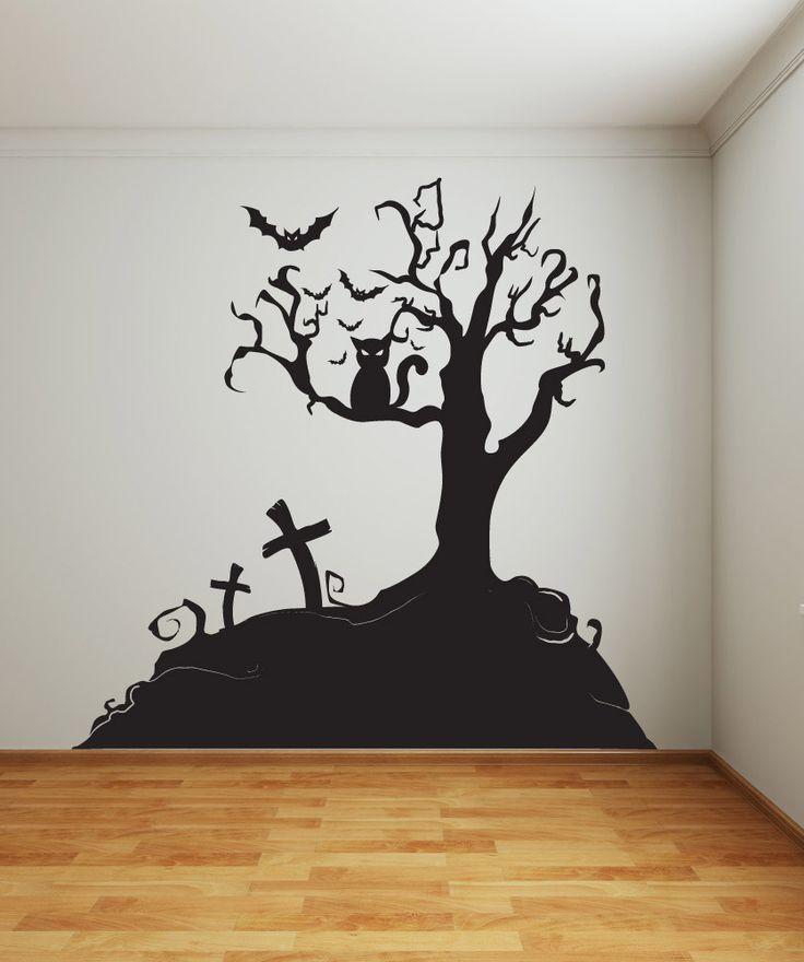vinyl wall decal sticker halloween tree 1014 - Halloween Wall Decoration