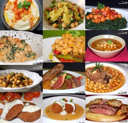 Doce recetas con garbanzos. (12 chickpeas recipes. Spanish.)