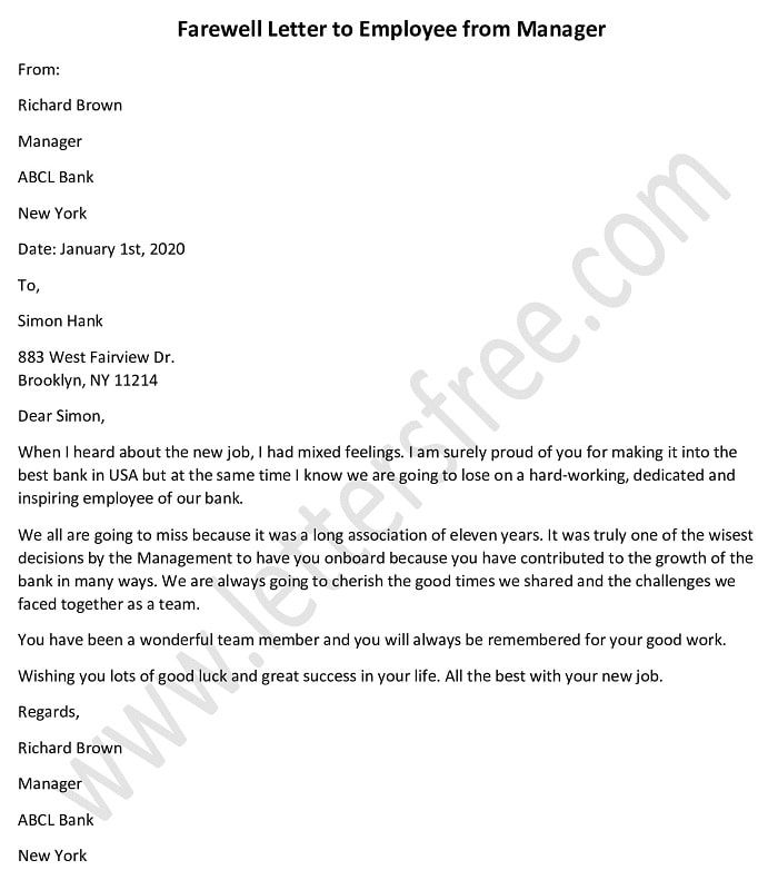 Sample Farewell Letter To Employee From Manager In 2020 Farewell
