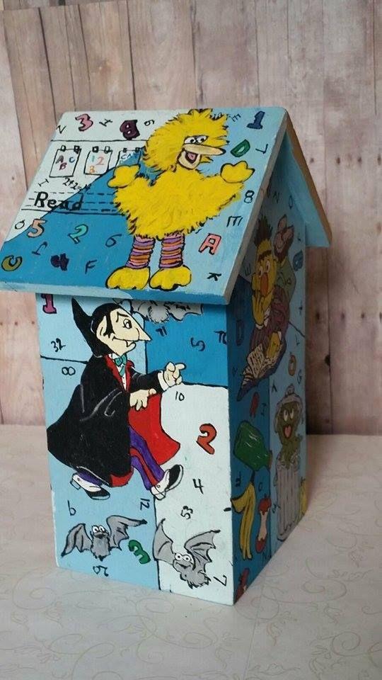 Hand Painted custom Sesame Street themed bird house / Big Bird / Oscar the Grouch / Ernie and Bert / Muppets / Jim Hanson / The Count / Elmo.  Gallery 13 hearts by design.  For custom orders, email:  heartsbydesign@yahoo.com