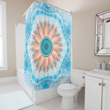 Clean and Pure Turquoise and White Fractal Flower Shower Curtain - white gifts elegant diy gift ideas