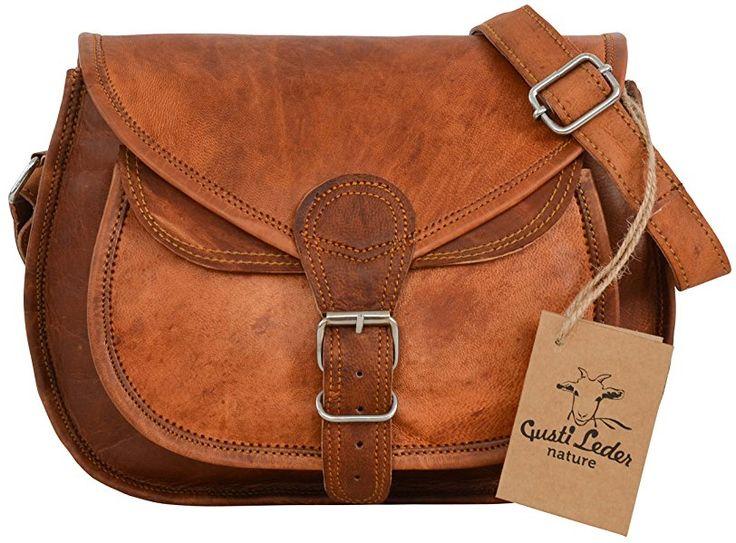 """Gusti Cuir nature """"Evelyn"""" sac à main sacoche sac en bandoulière besace homme femme cuir de chèvre marron K54b"""