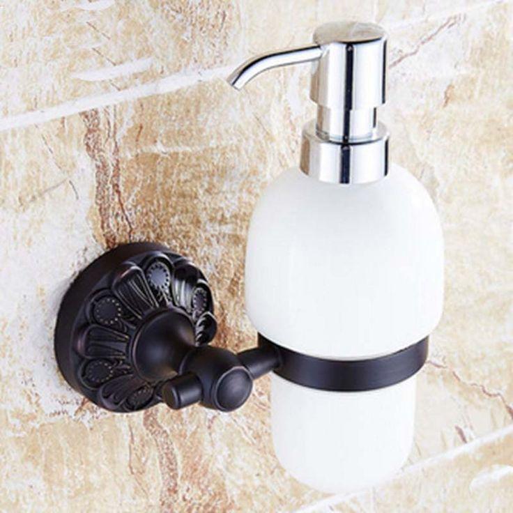 Luxury Oil Rubbed Bronze Bathroom Kitchen Sink Liquid Soap Dispenser Ceramic Cup