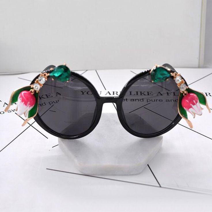 new fashion Vintage women sunglasses Baroque metal flowers Rhinestone Exaggerated Sunglasses Luxury Sun Beach sunglasses #Affiliate