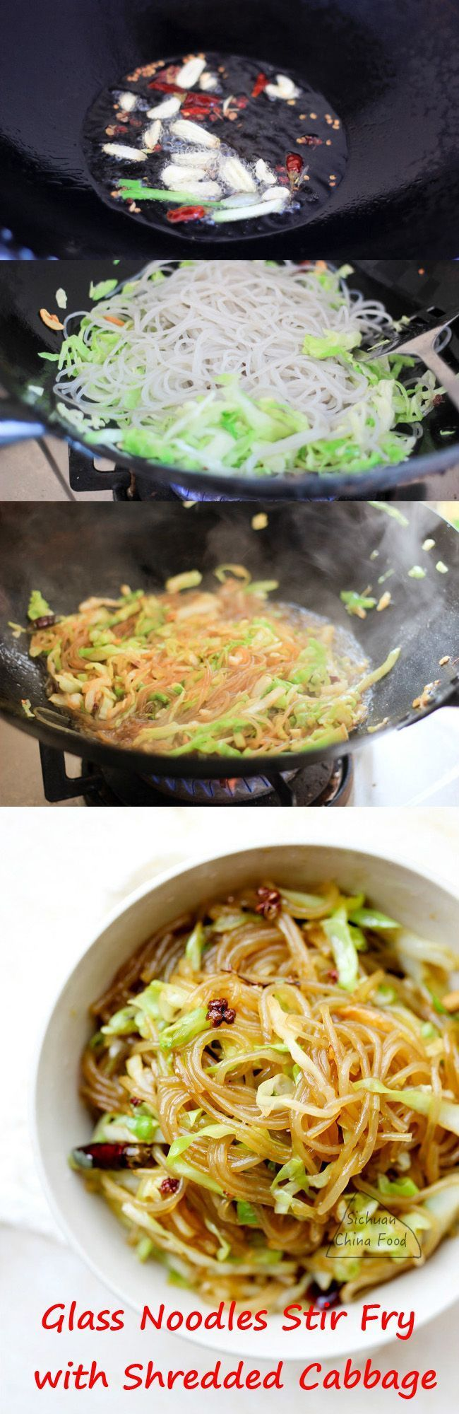 Glass Noodles Stir Fry with Shredded Cabbage  | China Sichuan Food