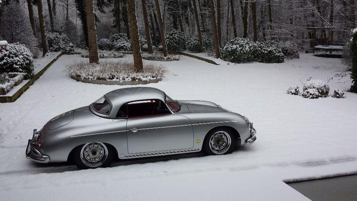 1957 Porsche 356 T2 hardtop speedster with fresh snow