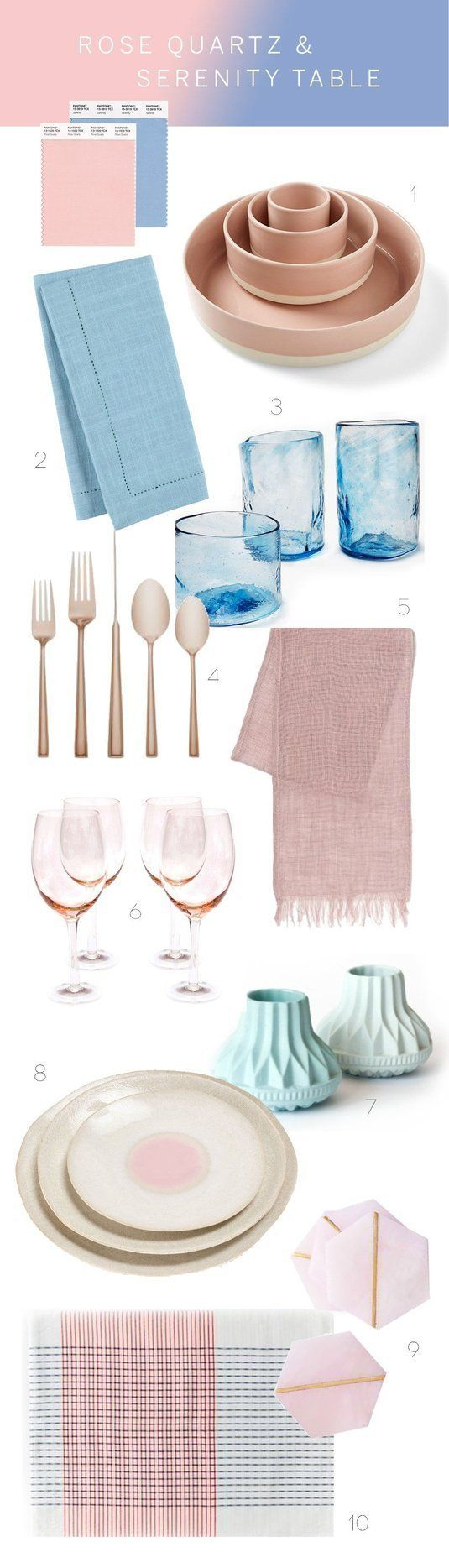 setting a table in pantone 39 s colors of the year rose quartz serenity therapy white shaker. Black Bedroom Furniture Sets. Home Design Ideas