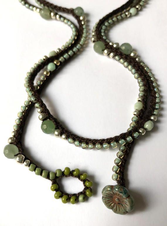 Crochet wrap bracelet / necklace beaded forest