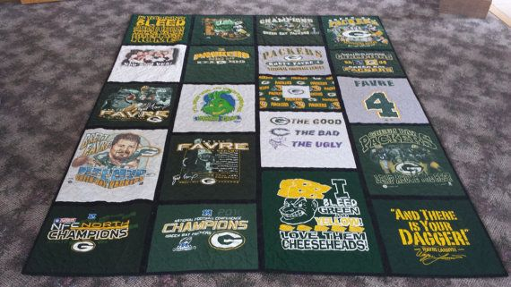 The perfect quilt for a Packer fan! - This was a Custom made T Shirt Quilt for a wedding gift.  Custom orders available through Quilts by Barb on Etsy or email me at Barb@Quiltsbybarb.com