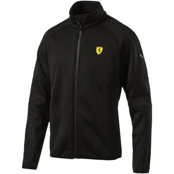 Puma Ferrari Softshell Jacket (€125) ❤ liked on Polyvore featuring men's fashion, men's clothing, men's activewear, men's activewear jackets and puma black