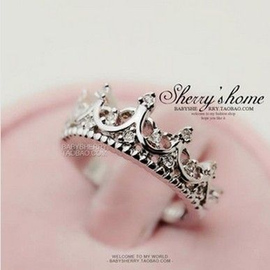 2017 Luxury artificial crystal rings for women accessories,Vintage silver plated crown ring gift,Fashion costume jewelry,R086