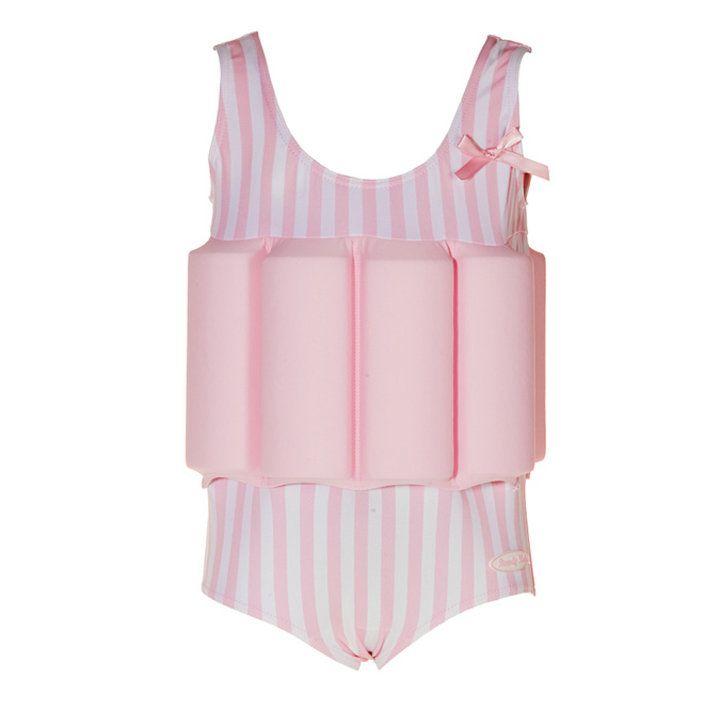 Die Variante für Mädchen in Rosa: Badeanzug mit integrierten Schwimmflügeln
