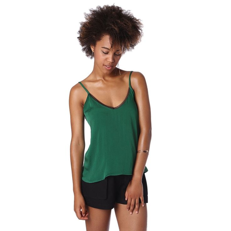 Green cami top with black lace trim