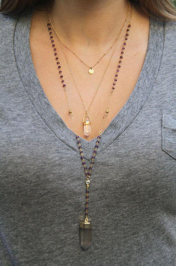 Amethyst Rosary Necklace Amethyst Rosary by WanderandLustJewelry, $74.00